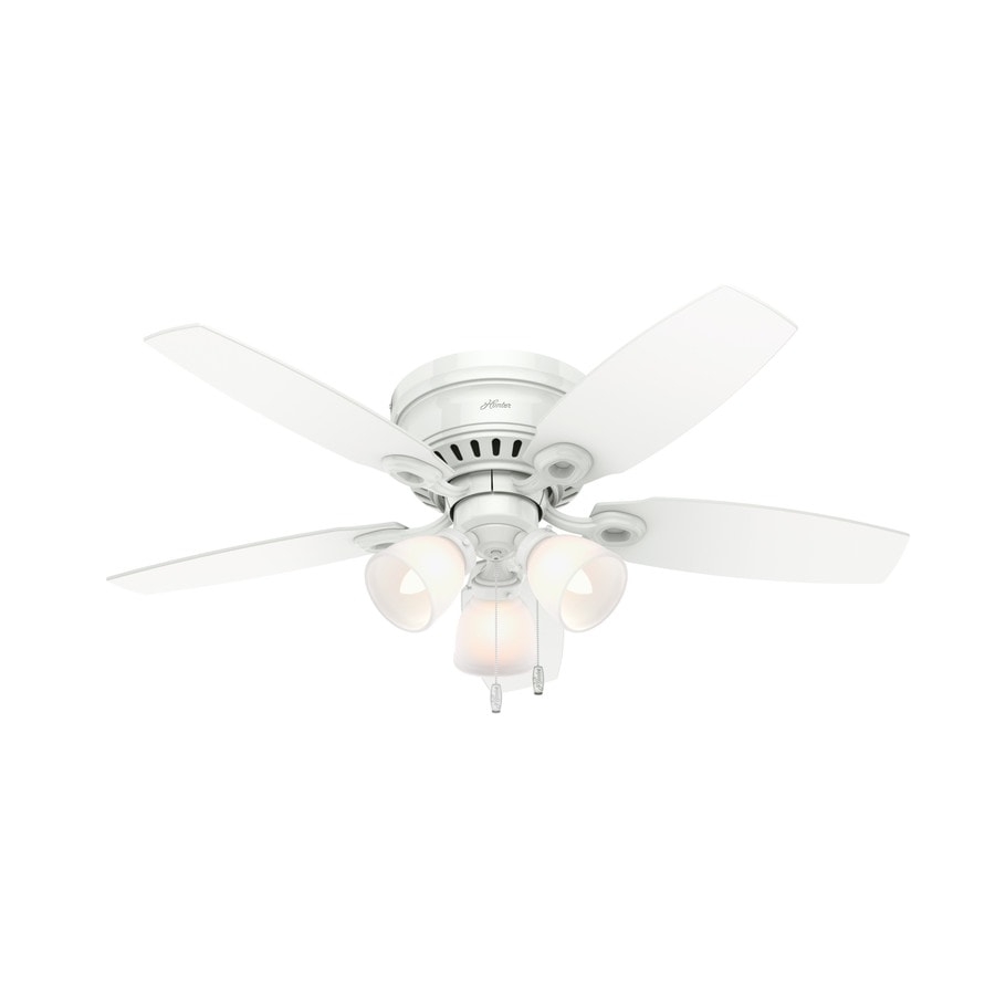 Hunter Hatherton 46-in Snow White Flush Mount Indoor Ceiling Fan with Light Kit