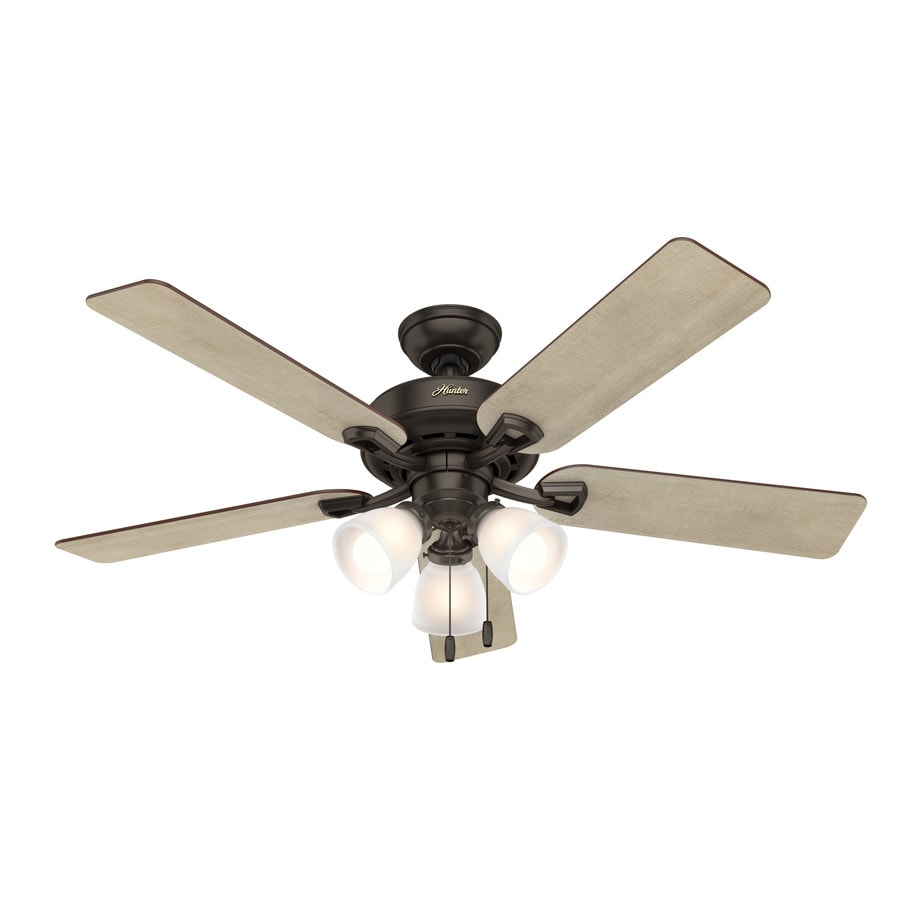 Shop Hunter Kenney Led 52 In Premier Bronze Indoor Ceiling Fan With Wiring Just Want Light To Be Switched Kit