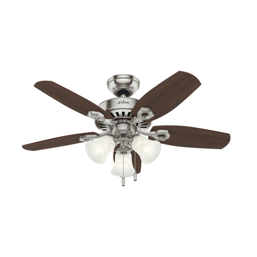 Hunter Builder Small Room 42-in Brushed Nickel Indoor Downrod Or Close Mount Ceiling Fan with Light Kit