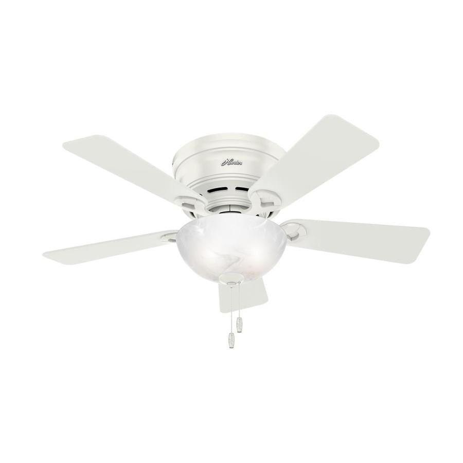 Hunter Haskell 42 In White Indoor Flush Mount Ceiling Fan With Light Kit 5 Blade At Lowes Com