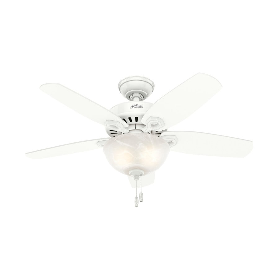 Hunter Builder Bowl 42-in Snow White Downrod or Close Mount Indoor Ceiling Fan with Light Kit