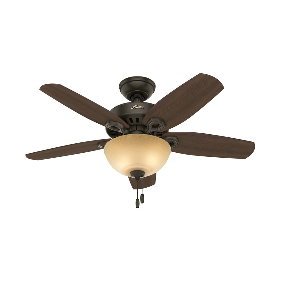 Hunter Builder Bowl 42-in New Bronze Downrod or Close Mount Indoor Ceiling Fan with Light Kit
