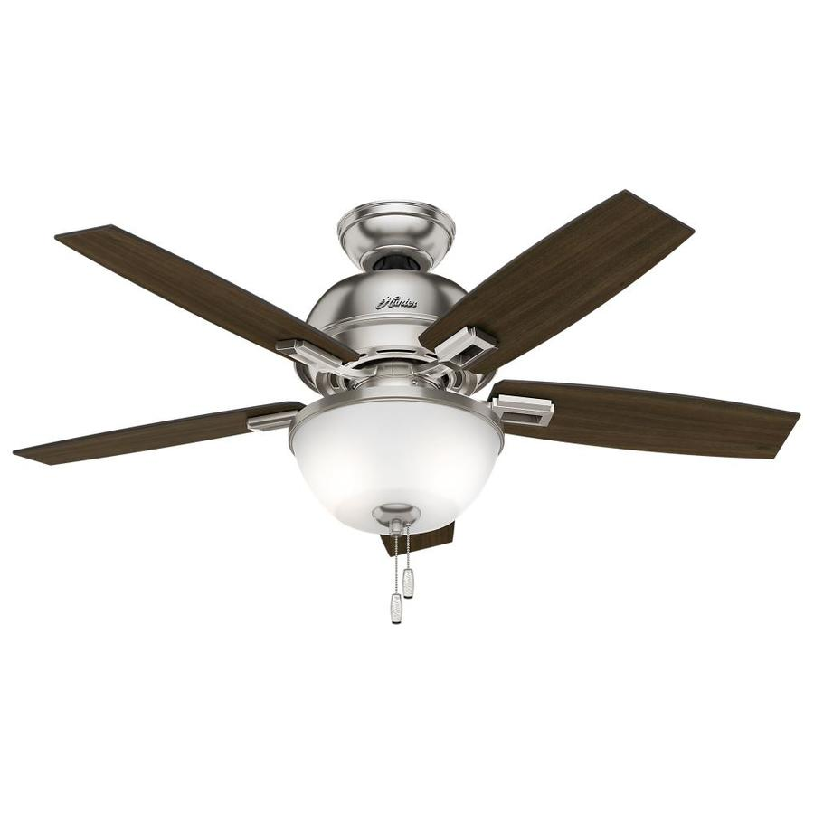 Hunter Donegan 44-in Brushed Nickel Indoor Downrod Or Close Mount Ceiling Fan with Light Kit