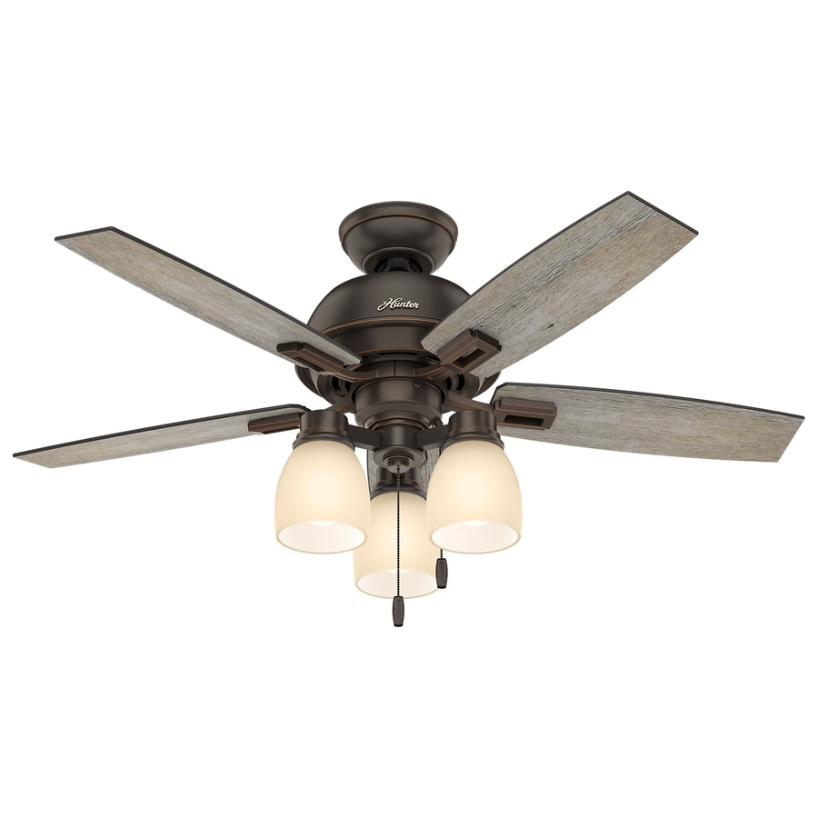 Hunter Donegan 44-in Onyx Bengal Bronze Indoor Downrod Or Close Mount Ceiling Fan with Light Kit