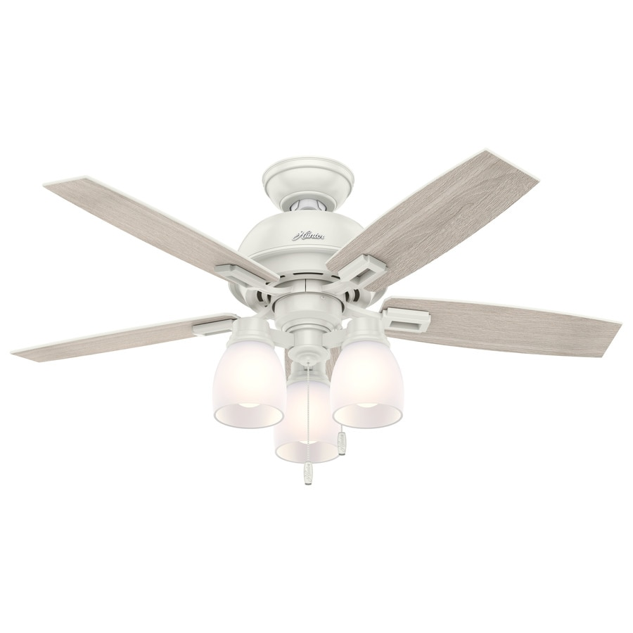 Hunter Donegan 44-in Fresh White Indoor Downrod Or Close Mount Ceiling Fan with Light Kit
