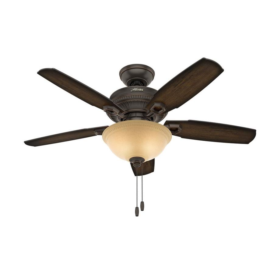 Hunter Ambrose 44-in Onyx Bengal Bronze Downrod or Close Mount Indoor Ceiling Fan with Light Kit