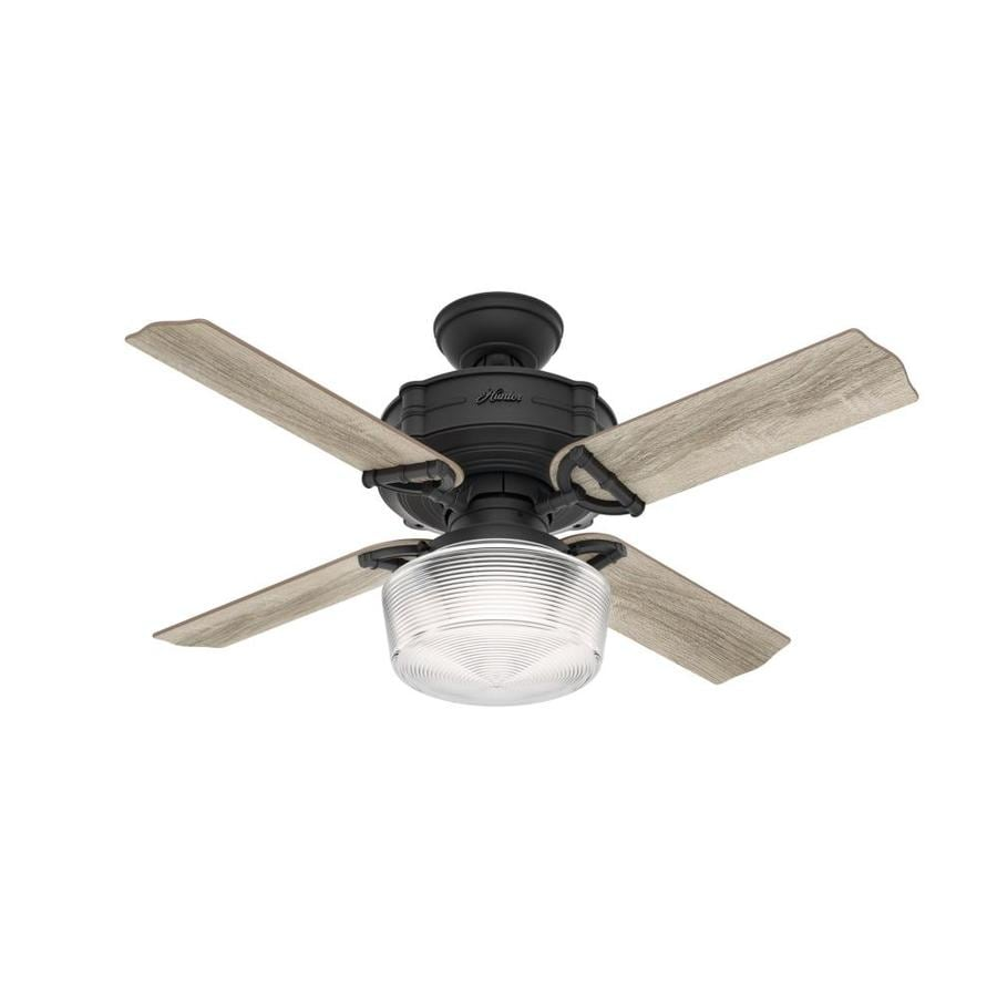44 White Downrod Close Mount Indoor Outdoor Tropical: Hunter Brunswick 44-in Natural Iron LED Indoor Ceiling Fan