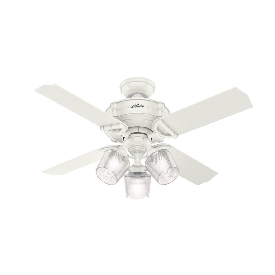Hunter Brunswick 44-in Fresh White Indoor Downrod or Close Mount Ceiling Fan with Light Kit and Remote (4-Blade)