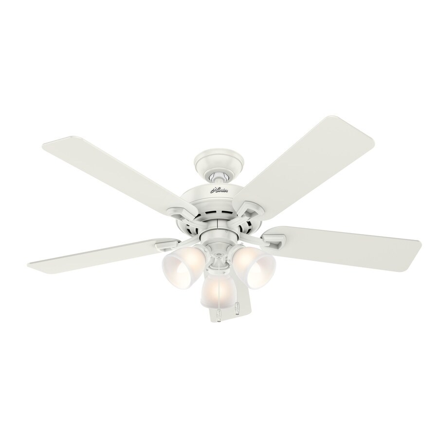 Hunter Kenney 52-in Fresh White Indoor Downrod Or Close Mount Ceiling Fan with Light Kit
