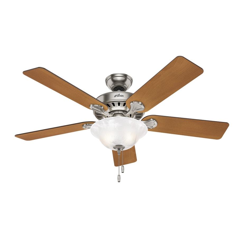 Shop hunter buchanan 52 in brushed nickel indoor ceiling fan with hunter buchanan 52 in brushed nickel indoor ceiling fan with light kit mozeypictures Image collections