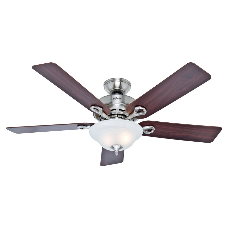 Hunter The Kensington 52-in Brushed Nickel Indoor Downrod Or Close Mount Ceiling Fan with Light Kit