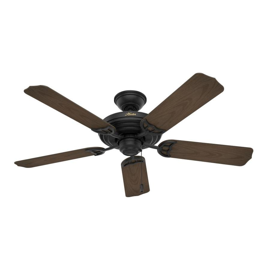 Hunter Sea Air 52-in Textured Black Downrod or Close Mount Indoor/Outdoor Ceiling Fan ENERGY STAR