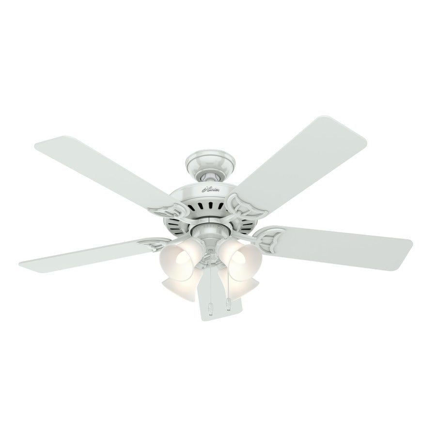 Hunter Studio Series 52-in White Indoor Downrod Or Close Mount Ceiling Fan with Light Kit