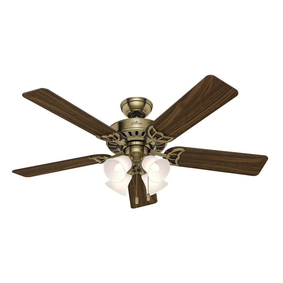 Hunter Ceiling Fan Light Kits Antique Brass: Shop Hunter Studio Series 52-in Antique Brass Indoor