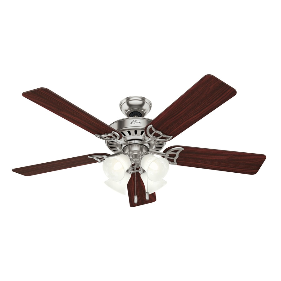 Hunter Studio Series 52-in Brushed Nickel Downrod or Close Mount Indoor Ceiling Fan with Light Kit