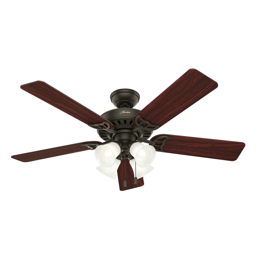 Hunter Studio Series 52-in New Bronze Downrod or Close Mount Indoor Ceiling Fan with Light Kit
