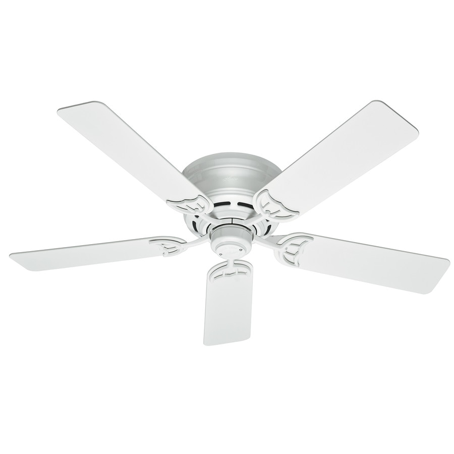 Shop hunter low profile iii 52 in white indoor flush mount ceiling hunter low profile iii 52 in white indoor flush mount ceiling fan mozeypictures Gallery
