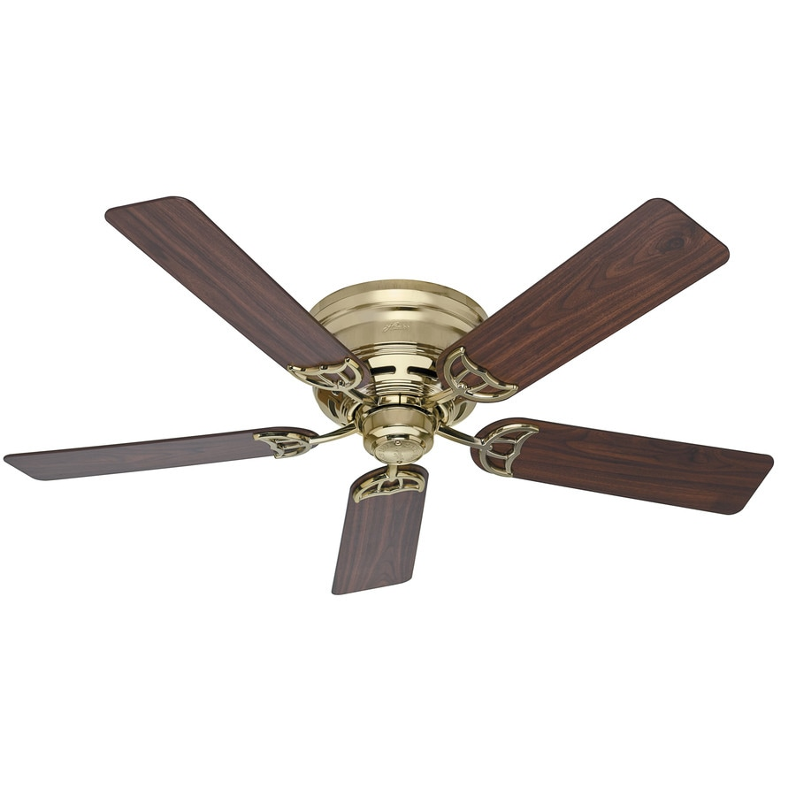 Hunter Low Profile III 52-in Bright Brass Flush Mount Indoor Ceiling Fan (5-Blade)