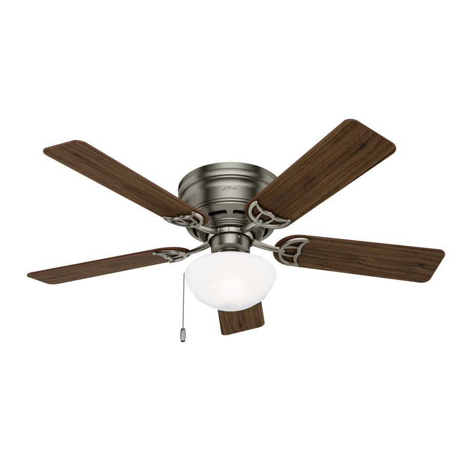 Hunter Low Profile III Plus 52-in Antique Pewter Flush Mount Indoor Ceiling Fan with Light Kit