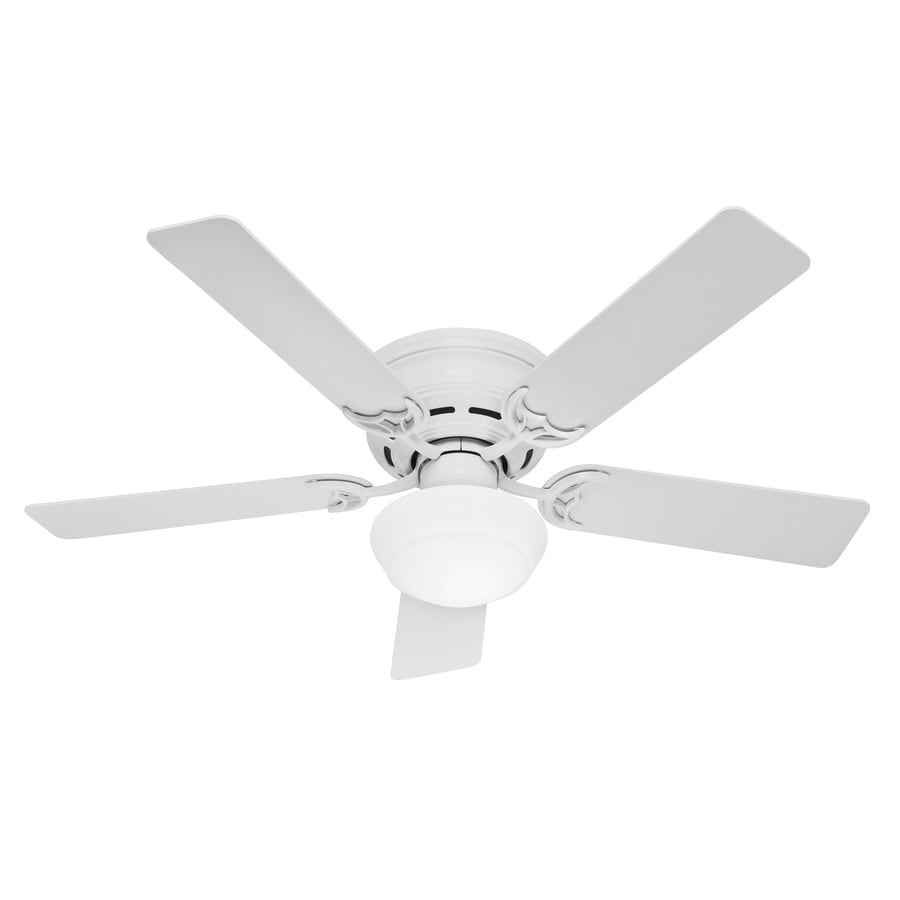 Hunter White Fan Part - 47: Hunter Low Profile III Plus 52-in White Indoor Flush Mount Ceiling Fan With  Light