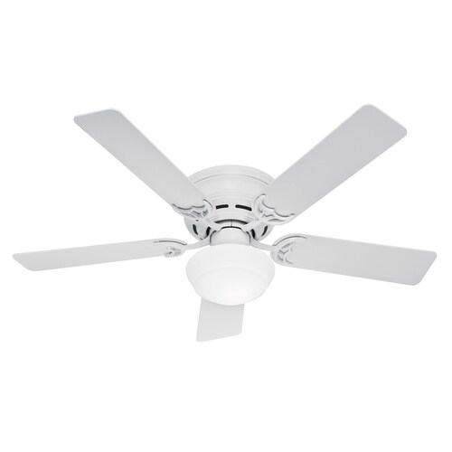Hunter Low Profile Iii Plus White 52 In Led Indoor Flush Mount Ceiling Fan With Light Kit 5 Blade In The Ceiling Fans Department At Lowes Com