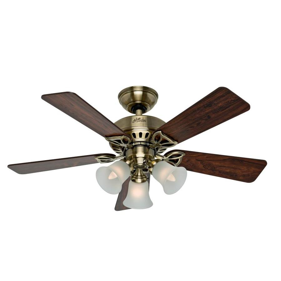 Hunter The Beacon Hill 42-in Antique Brass Indoor Downrod Or Close Mount Ceiling Fan with Light Kit