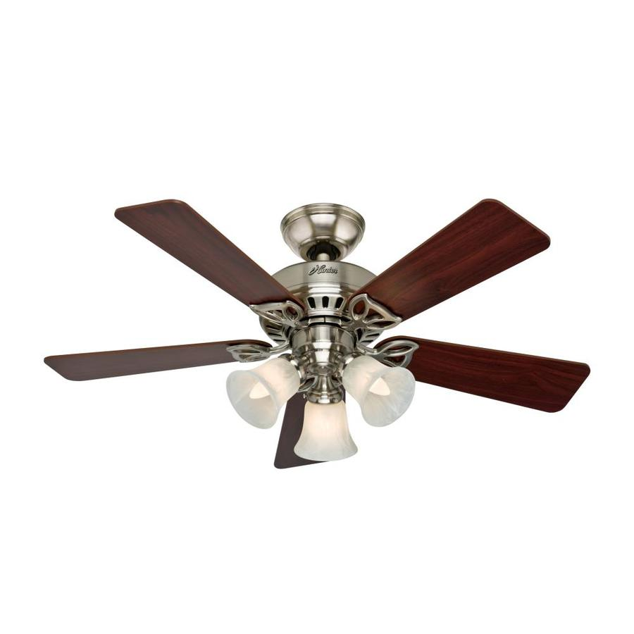 Hunter The Beacon Hill 42-in Brushed Nickel Downrod or Close Mount Indoor Ceiling Fan with Light Kit