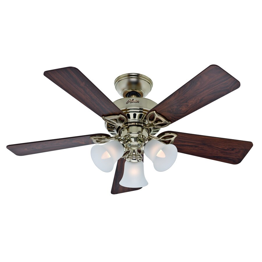 Hunter The Beacon Hill 42-in Bright brass Indoor Downrod Or Close Mount Ceiling Fan with Light Kit