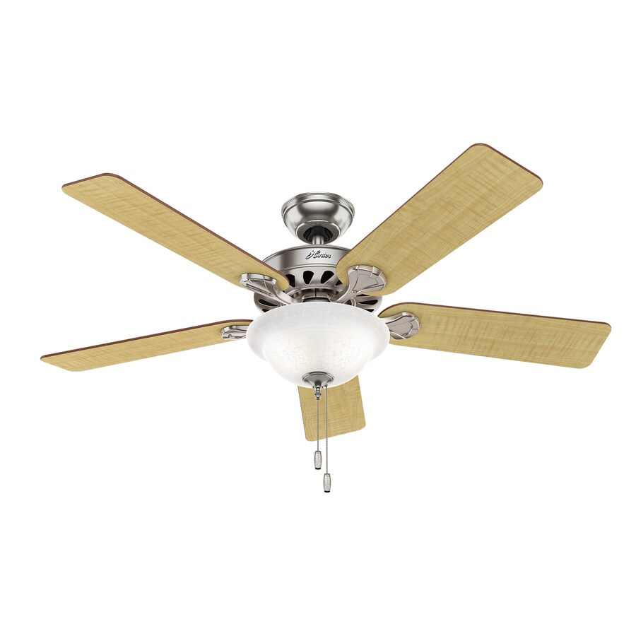 Hunter Five Minute Fan 52-in Brushed Nickel Downrod or Close Mount Indoor Ceiling Fan with Light Kit
