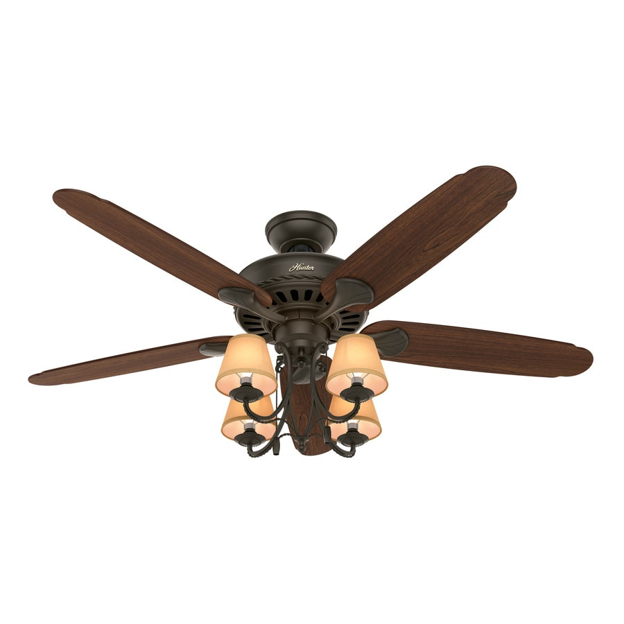 Hunter Cortland 54-in New Bronze Downrod or Close Mount Indoor Residential Ceiling Fan with Light Kit