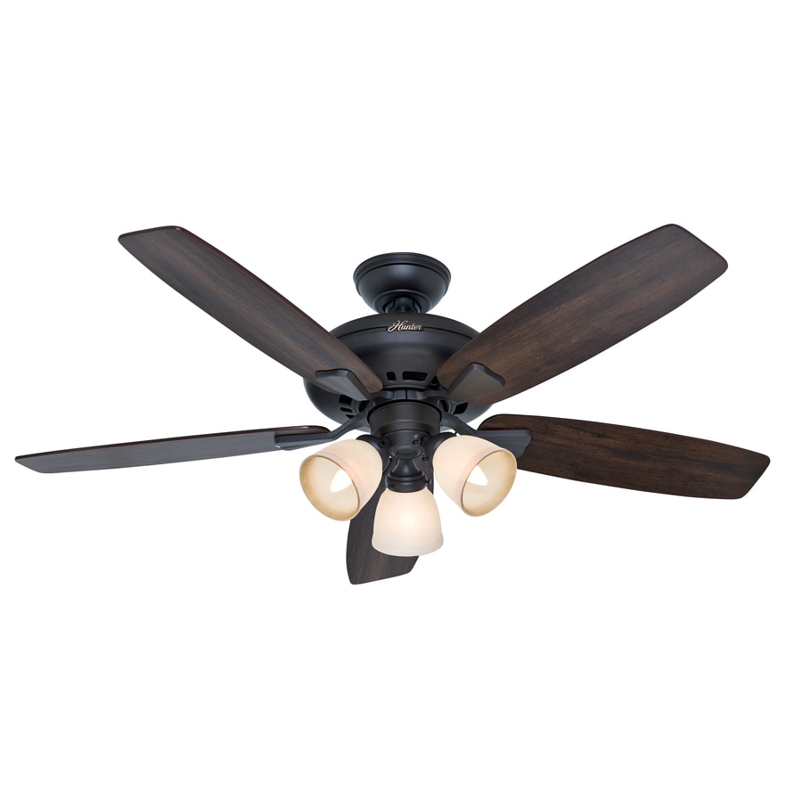Hunter Winslow 52-in New Bronze Downrod or Close Mount Indoor Ceiling Fan with Light Kit