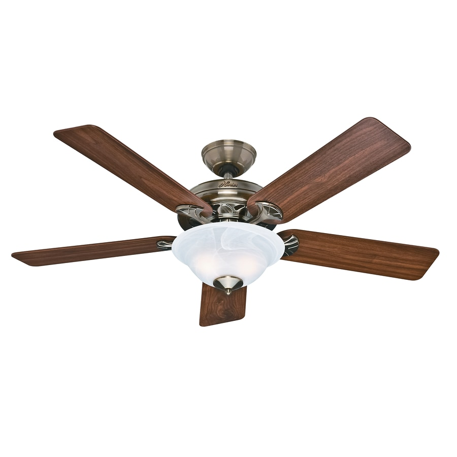Hunter Ceiling Fan Light Kits Antique Brass: Shop Hunter The Brookline 52-in Antique Brass Downrod Or