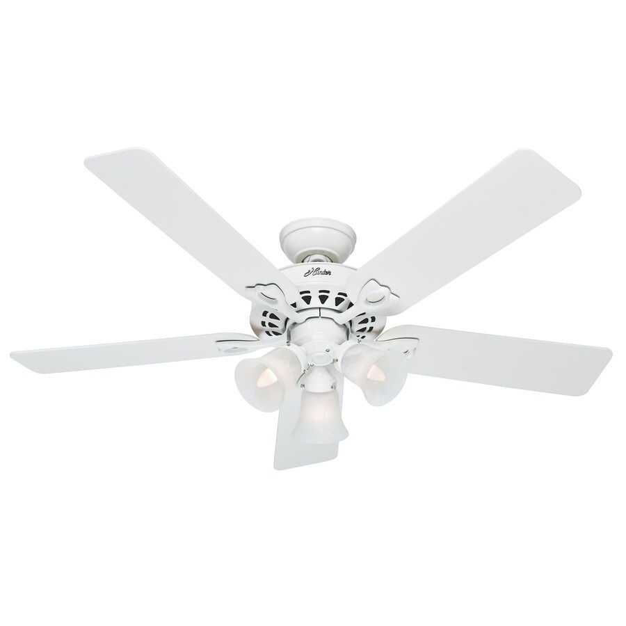 Hunter The Sontera 52-in White Indoor Downrod Or Close Mount Ceiling Fan with Light Kit and Remote