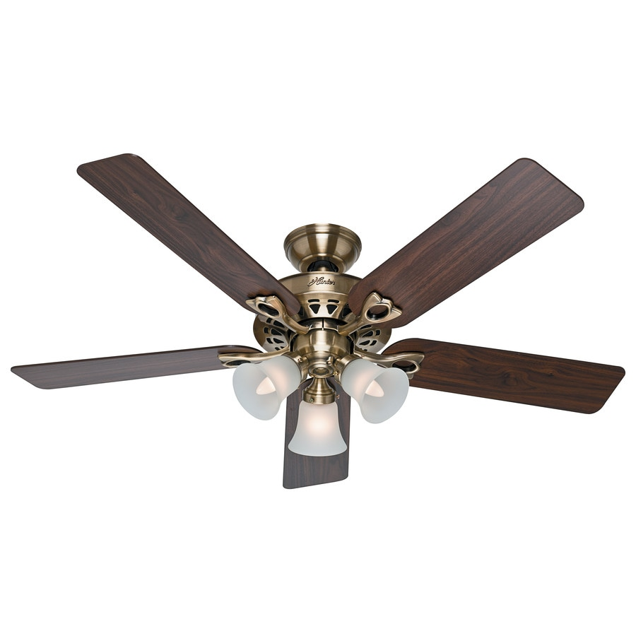 Hunter Ceiling Fan Light Kits Antique Brass: Shop Hunter The Sontera 52-in Antique Brass Indoor Downrod