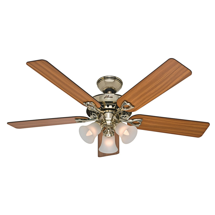 Hunter 52-in Bright brass Indoor Downrod Or Close Mount Ceiling Fan with Light Kit and Remote