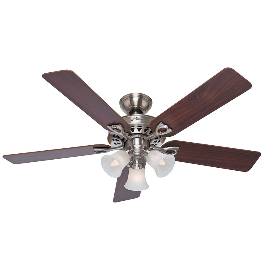Hunter The Sontera 52-in Brushed Nickel Downrod or Close Mount Indoor Ceiling Fan with Light Kit and Remote