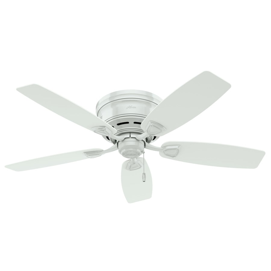 Hunter White Fan Part - 45: Hunter Sea Wind 48-in White Indoor/Outdoor Flush Mount Ceiling Fan