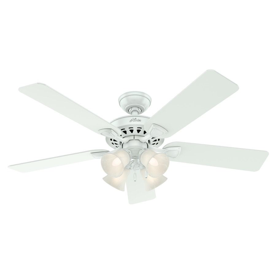 Hunter Westminster 5 Minute Fan 52-in White Indoor Downrod Or Close Mount Ceiling Fan with Light Kit