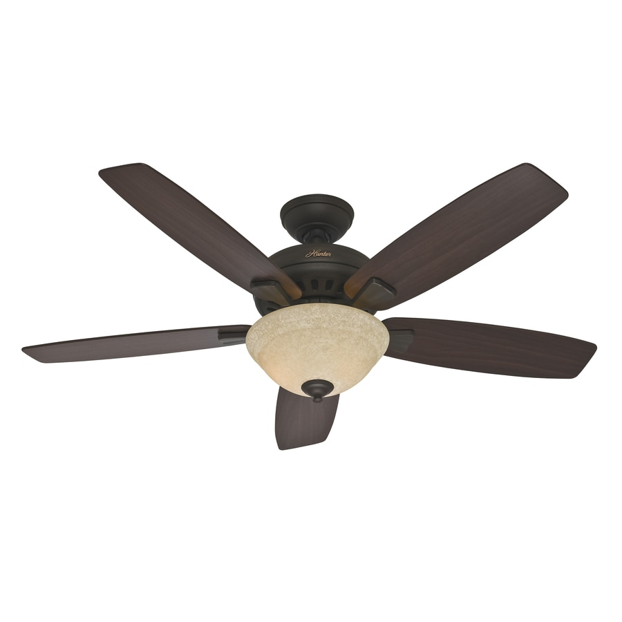 Hunter Banyan 52-in New Bronze Downrod or Close Mount Indoor Ceiling Fan with Light Kit