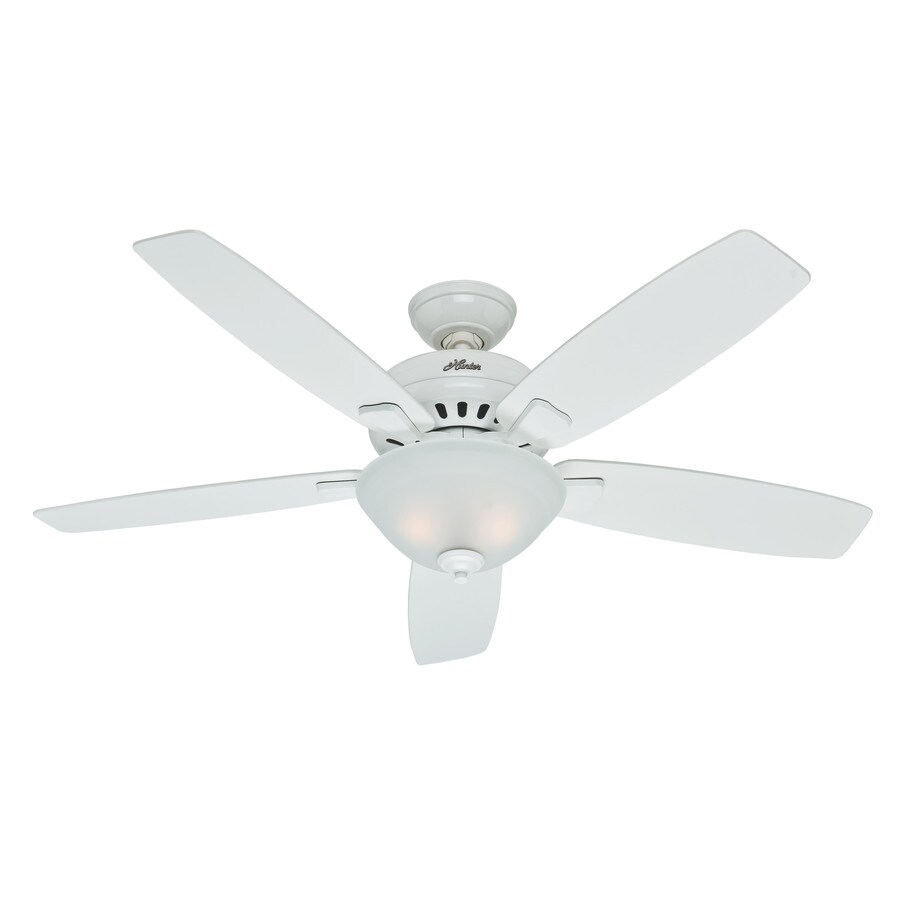 Hunter Banyan 52-in Snow White Downrod or Close Mount Indoor Ceiling Fan with Light Kit
