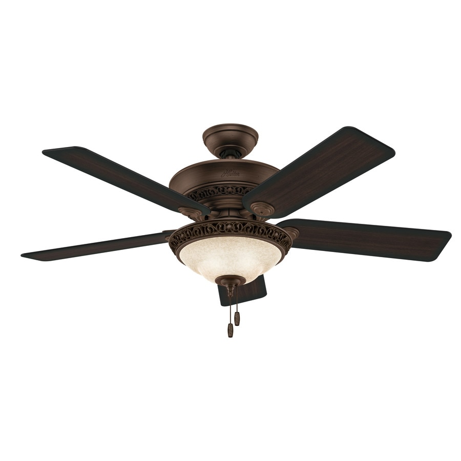 Hunter Italian Countryside 52-in Cocoa Indoor Downrod Or Close Mount Ceiling Fan with Light  sc 1 st  Loweu0027s : dual ceiling fan with light lowes - azcodes.com