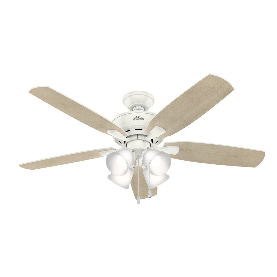 Hunter Amberlin Led 52 In Fresh White Indoor Ceiling Fan With Light Wiring Harness Kit