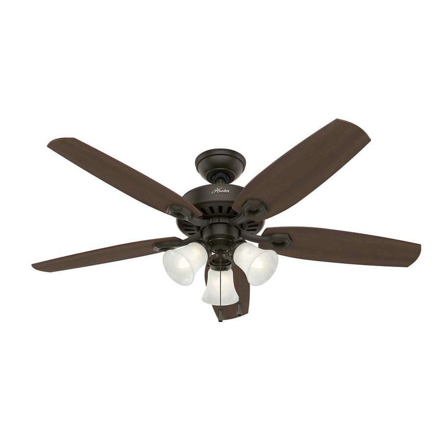 Hunter Builder Plus 52-in New Bronze Downrod or Close Mount Indoor Ceiling Fan with Light Kit