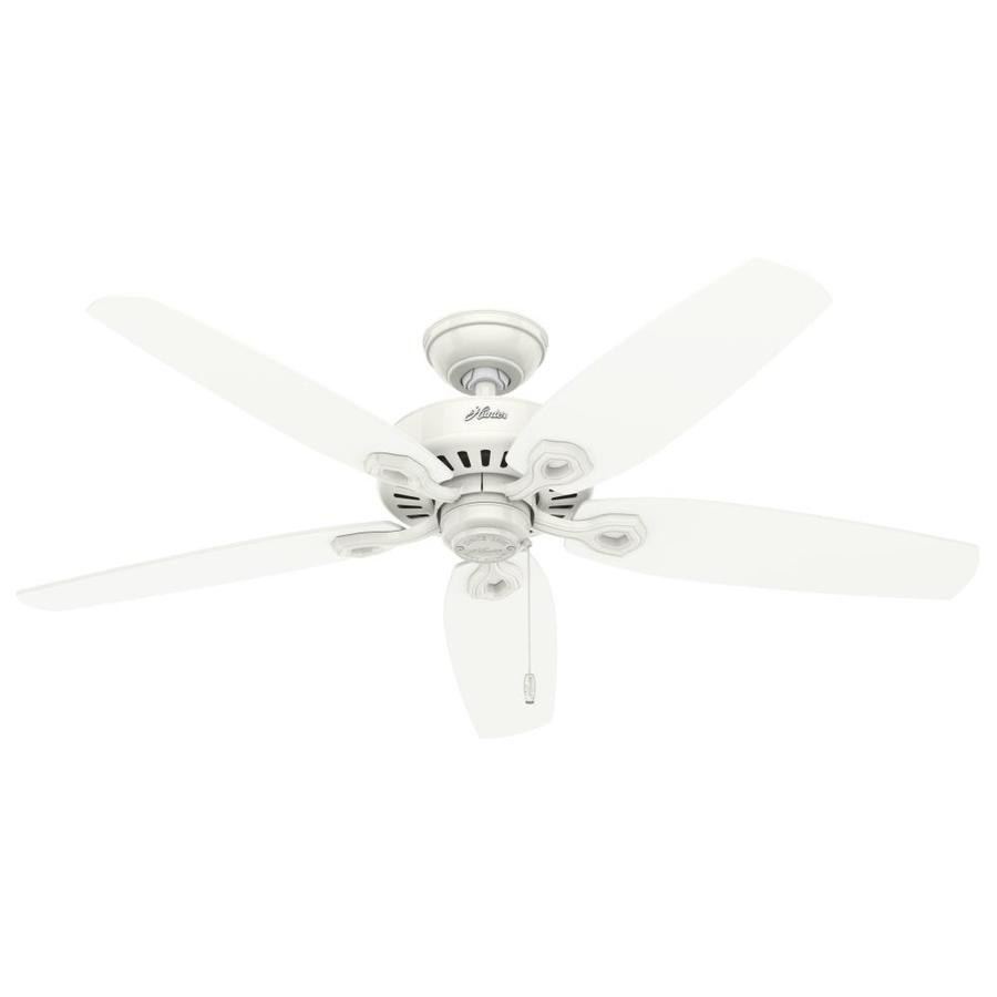 Hunter Builder Elite Damp 52-in Snow White Downrod or Close Mount Indoor/Outdoor Ceiling Fan