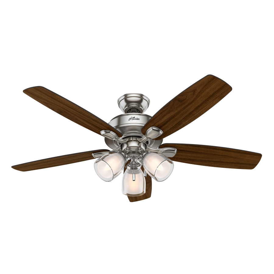 Hunter Meridale 52-in Brushed Nickel Indoor Downrod Or Close Mount Ceiling Fan with Light Kit