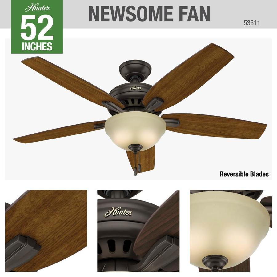Hunter Newsome Premier Bronze 52 In Indoor Ceiling Fan With Light Kit 5 Blade In The Ceiling Fans Department At Lowes Com