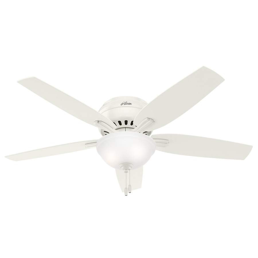 Shop Hunter Newsome 52-in Fresh White Indoor Flush Mount Ceiling Fan ... for Cool Flush Mount Ceiling Fans  lp4eri