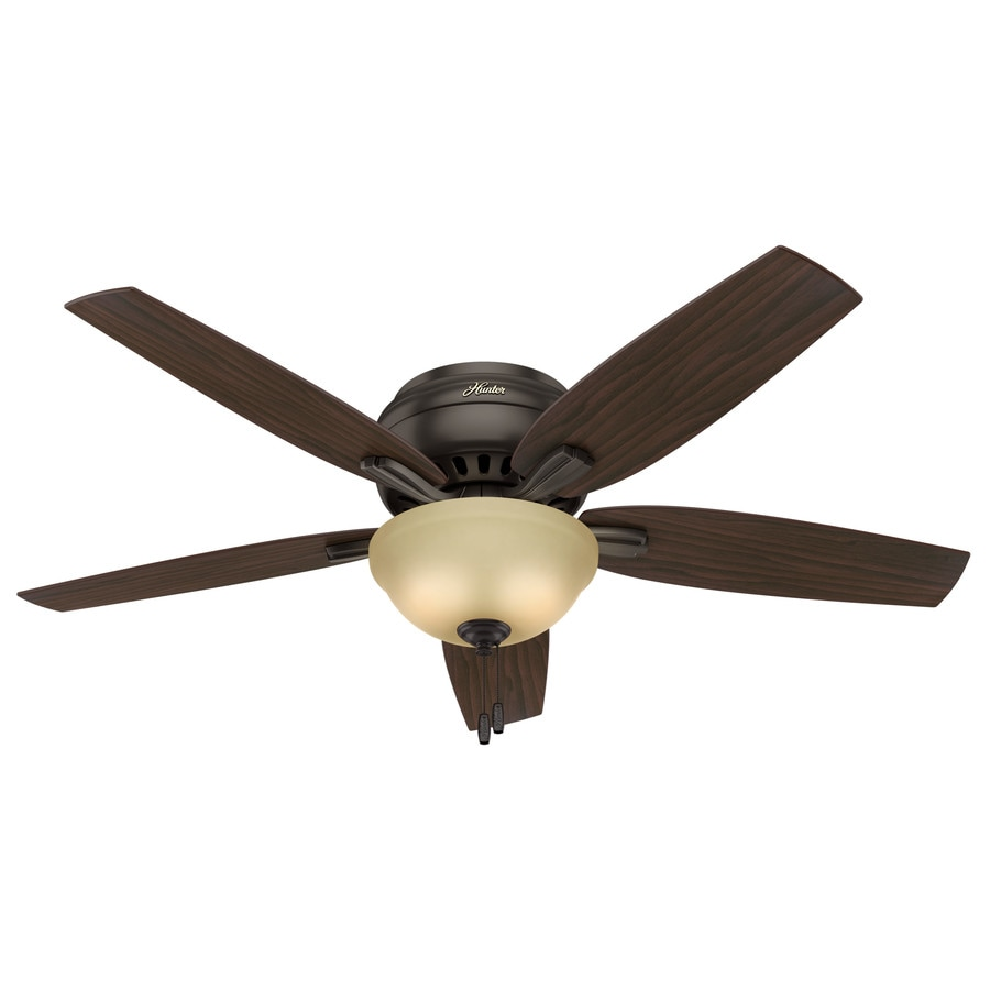 Hunter Newsome 52-in Premier Bronze Flush Mount Indoor Ceiling Fan with Light Kit
