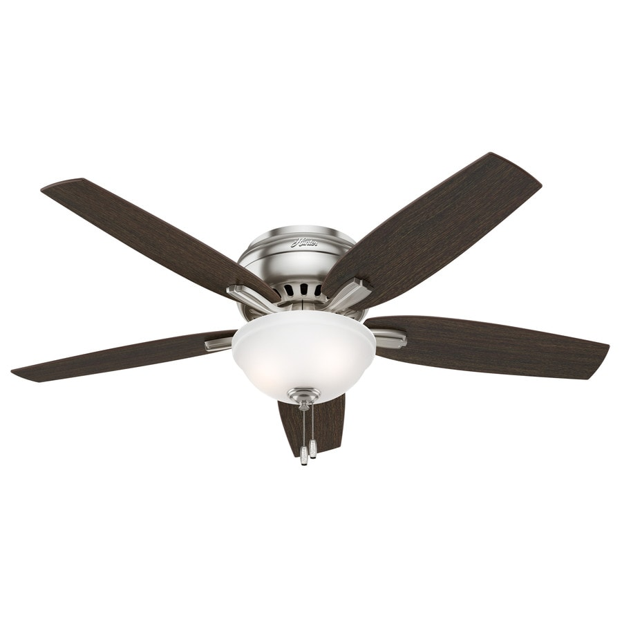 Shop hunter newsome 52 in brushed nickel indoor flush mount ceiling hunter newsome 52 in brushed nickel indoor flush mount ceiling fan with light kit mozeypictures Image collections