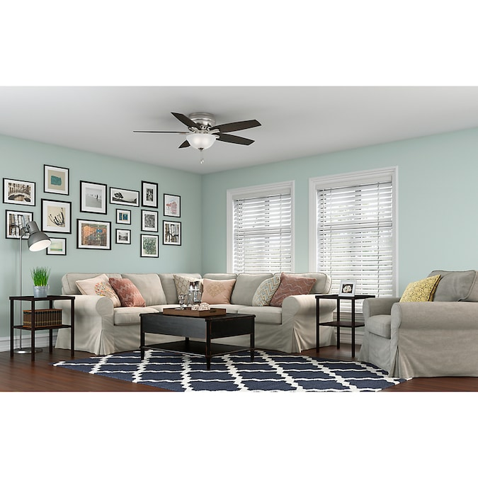 Hunter Newsome Brushed Nickel 52 In Led Indoor Flush Mount Ceiling Fan With Light Kit 5 Blade In The Ceiling Fans Department At Lowes Com